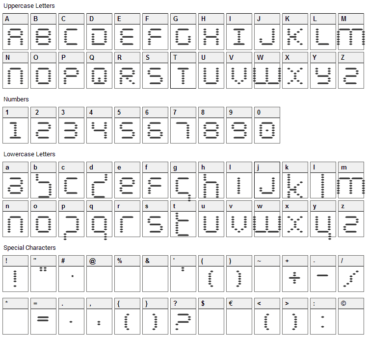 Byte Police Font Character Map