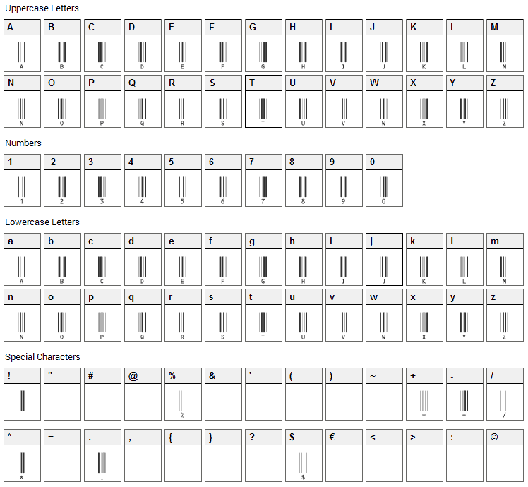 c39hrp24dhtt Font Character Map