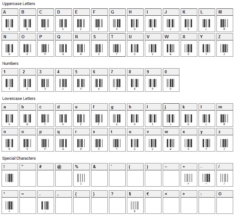 c39hrp24dltt Font Character Map