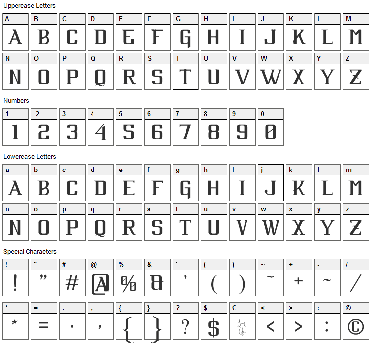 Cabaret Font Character Map
