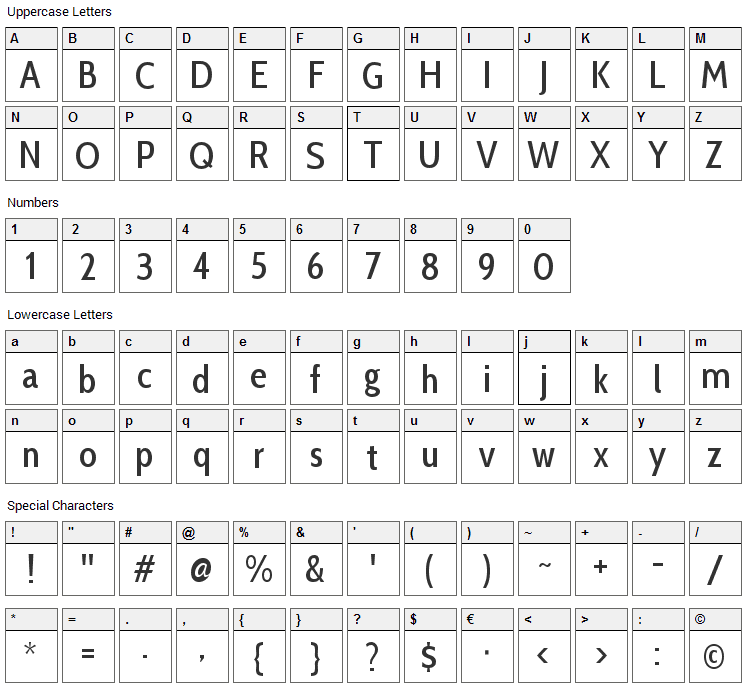 Cabin Condensed Font Character Map