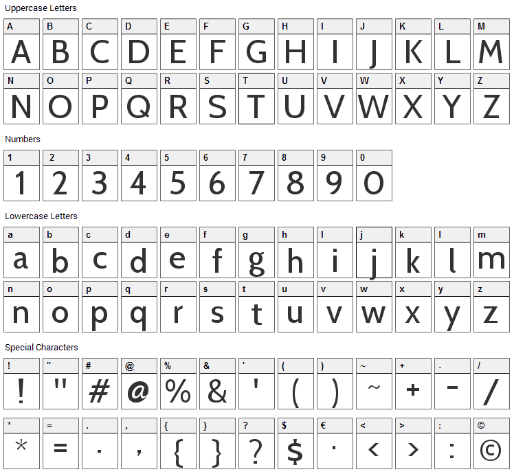 Cabin Font Character Map