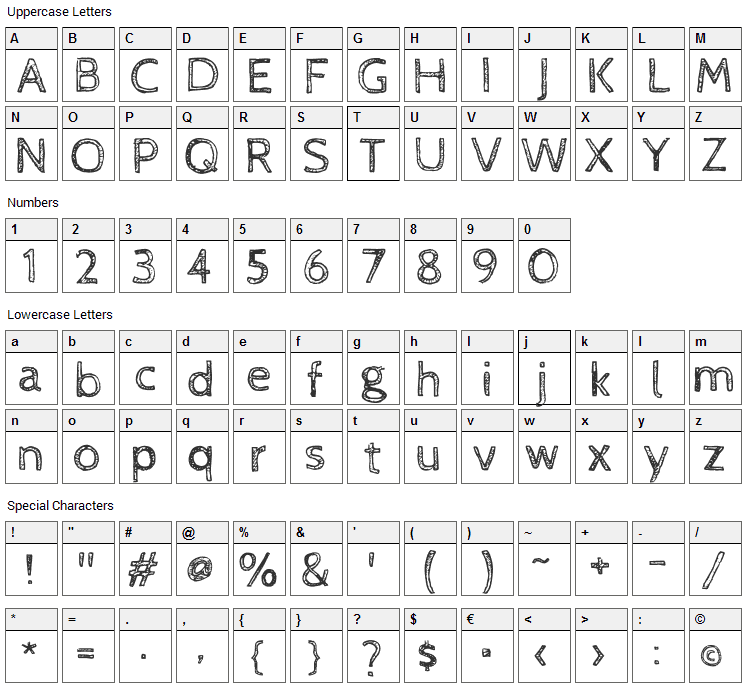 Cabin Sketch Font Character Map