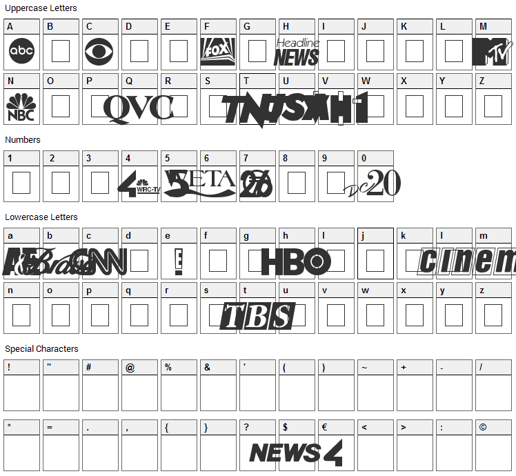 Cable Dingbats Font Character Map