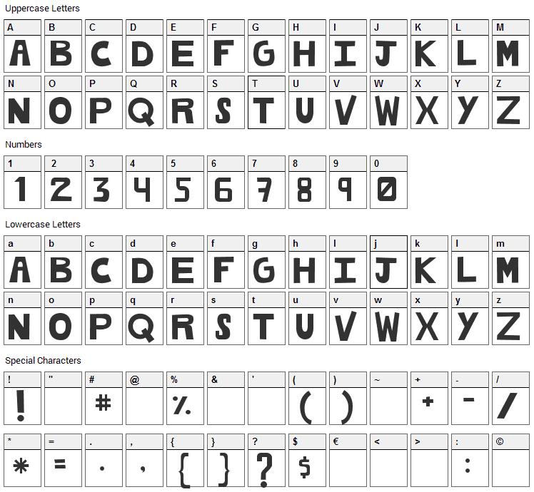 Cachetona Font Character Map
