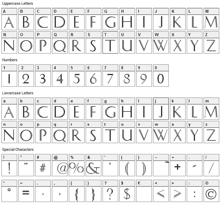 Caesar Font Character Map