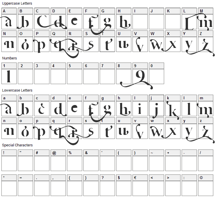 Cafe Lounge 19 Font Character Map
