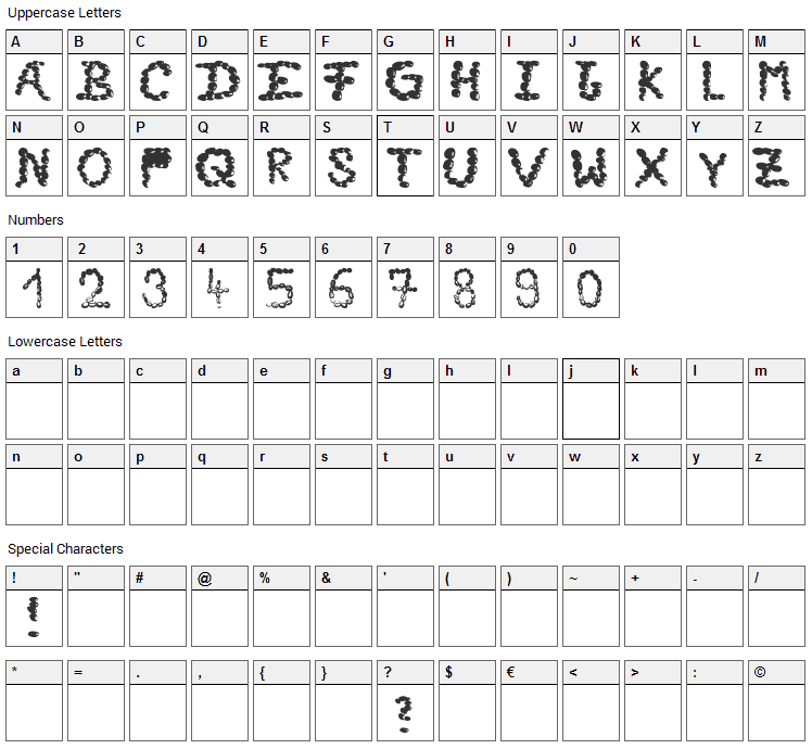 Cafe Time Font Character Map