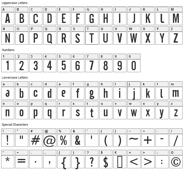 Cafeta Font Character Map