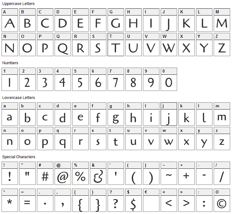 Cagliostro Font Character Map