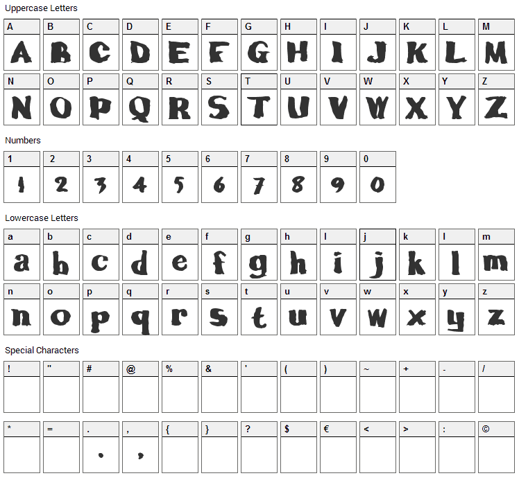 Calamity Joe Font Character Map