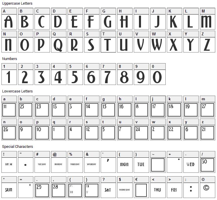 Calendar Font Character Map