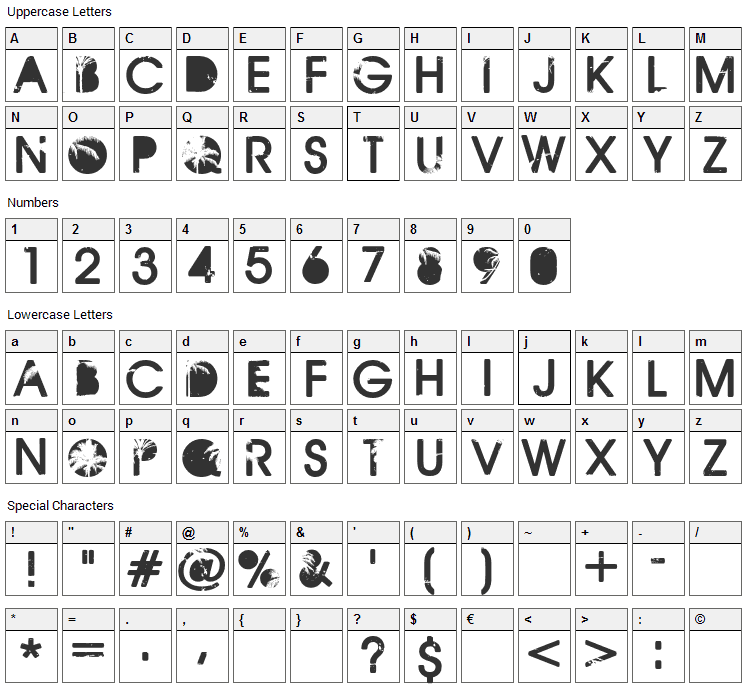 California Font Character Map