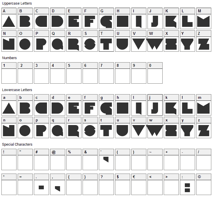 Caligari Font Character Map