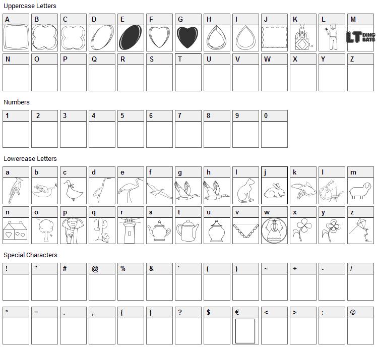 CaliKats Path Draws LT Font Character Map