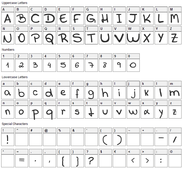 Callani Font Character Map