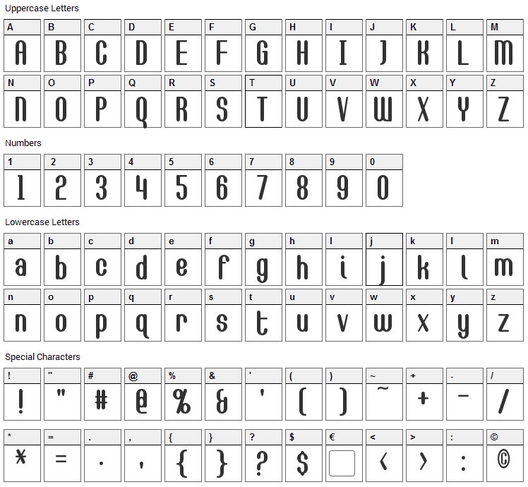 Callie-Mae Font Character Map