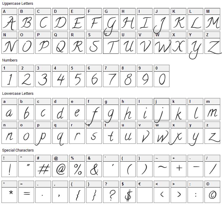 Calligraffitti Font Character Map