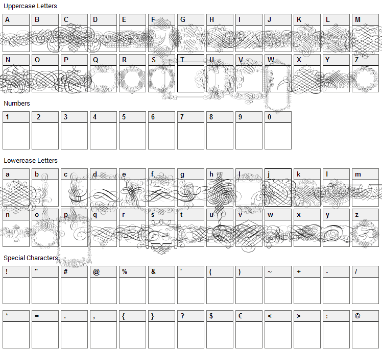 Calligraphia Latina Font Character Map