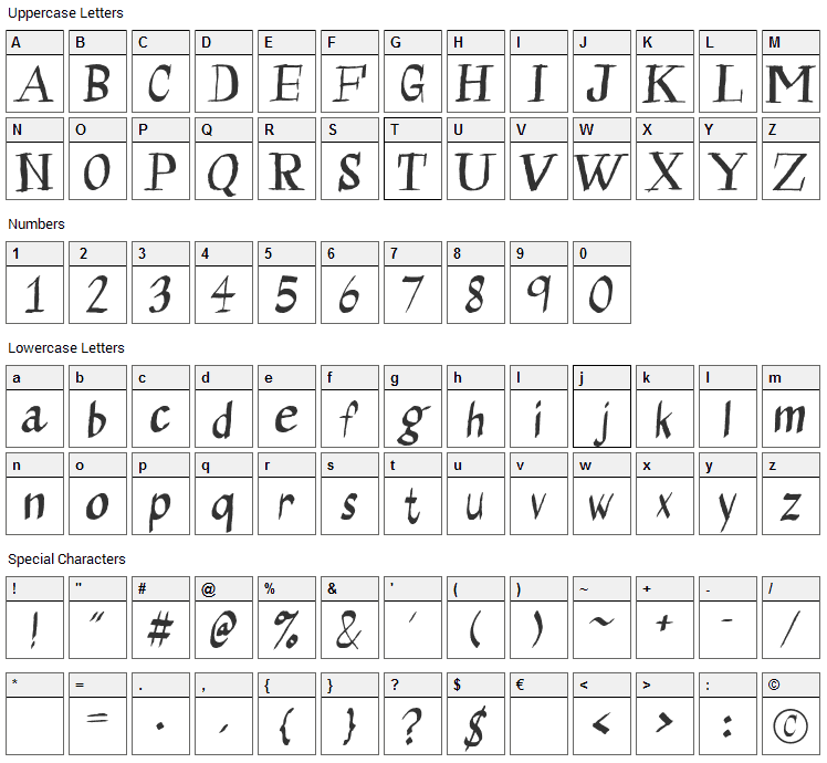 Calligraserif Font Character Map