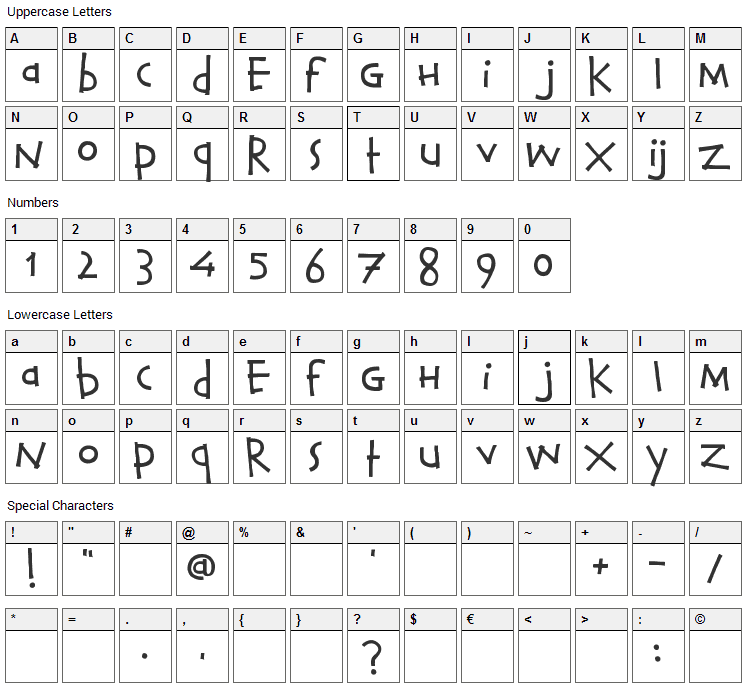 Calvin and Hobbes Font Character Map