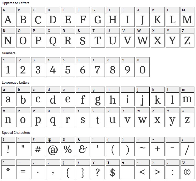 Cambo Font Character Map