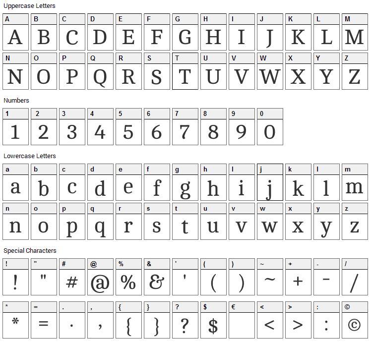 Cambo Font Character Map