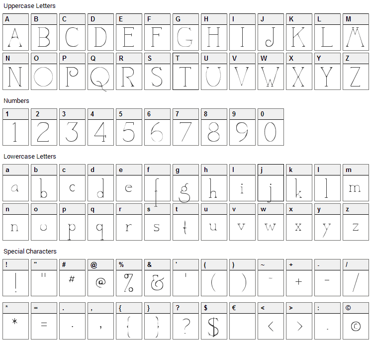 Camelot Font Character Map