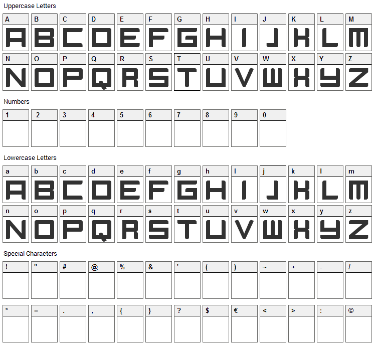 Camieis Font Character Map