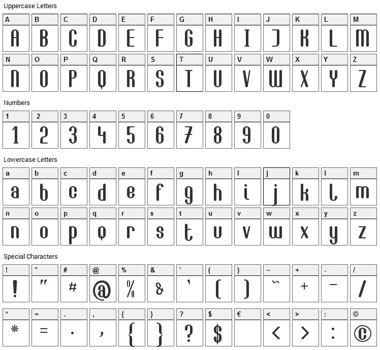 Camilla Font Character Map