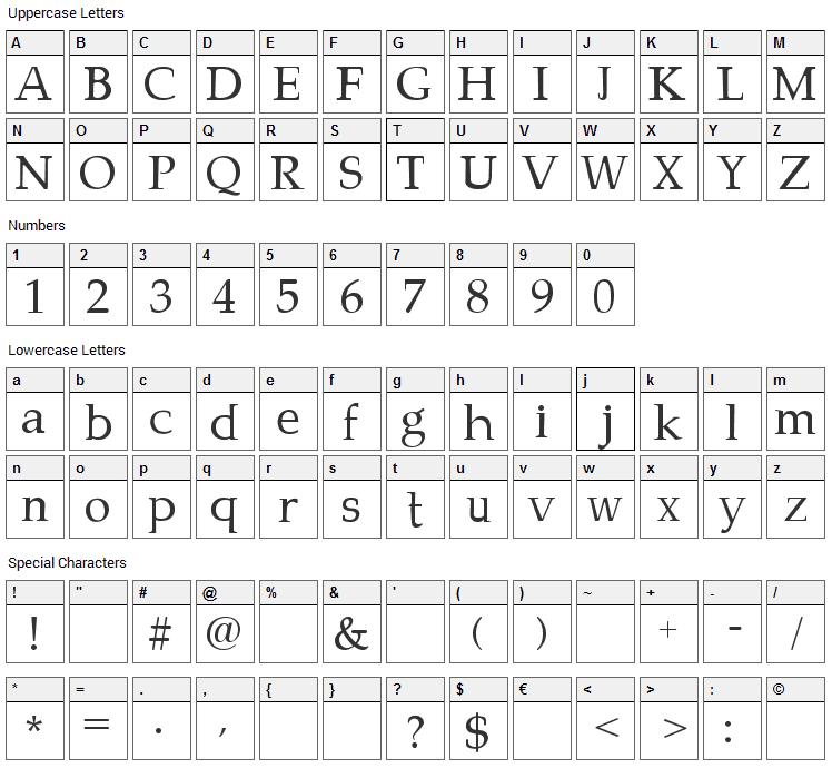 Campanero Font Character Map