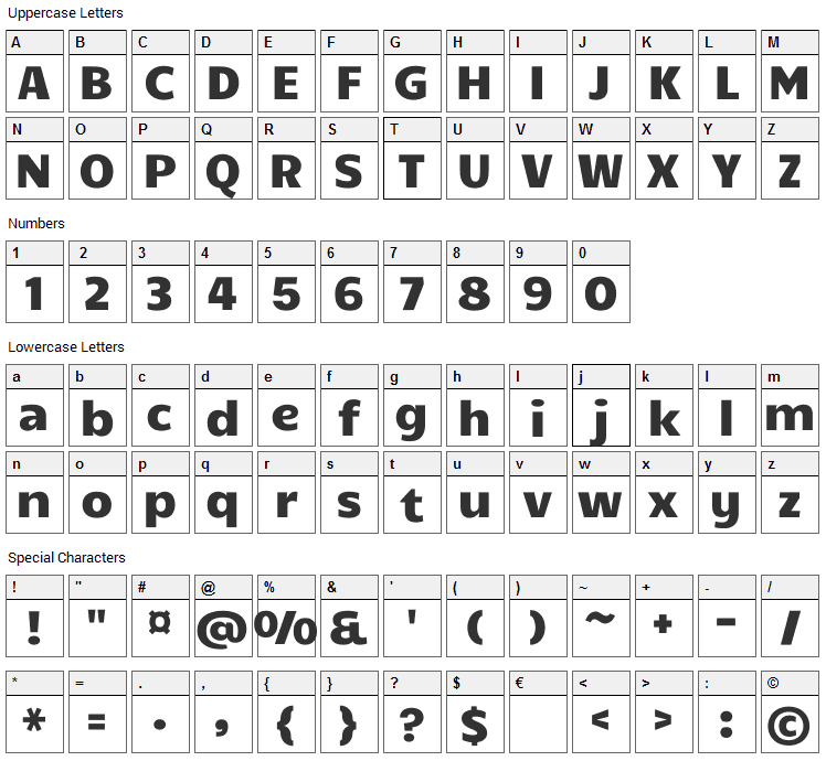 Candal Font Character Map