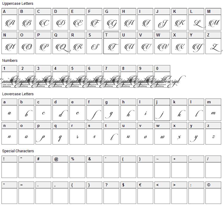 Candlescript Font Character Map