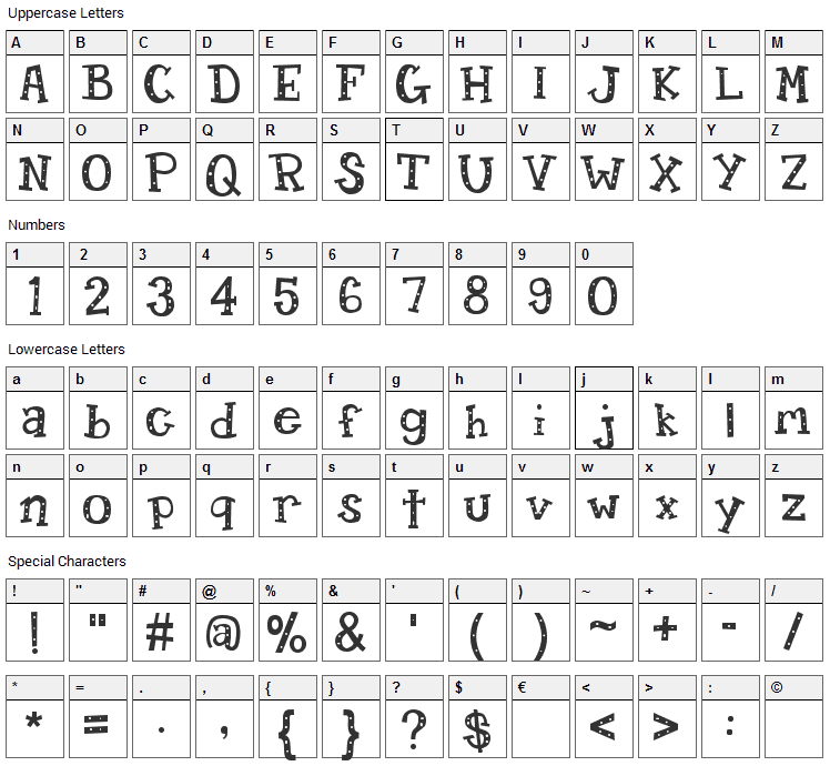 Candy Randy Font Character Map