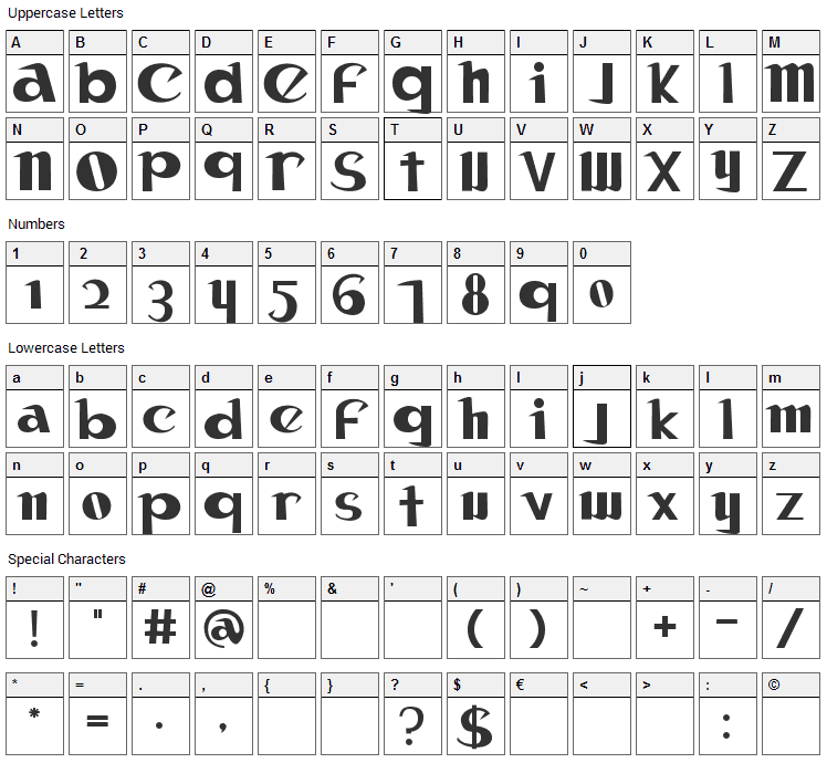 Canon Font Character Map