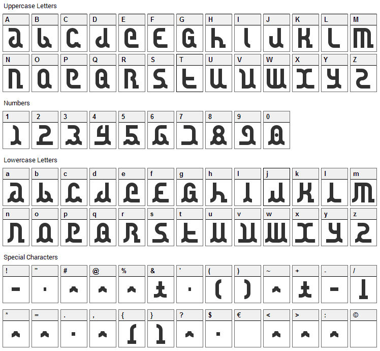 Canstop Font Character Map