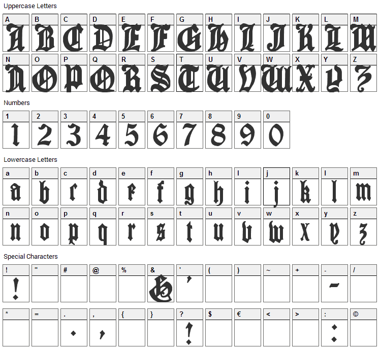 Cantebriggia Font Character Map