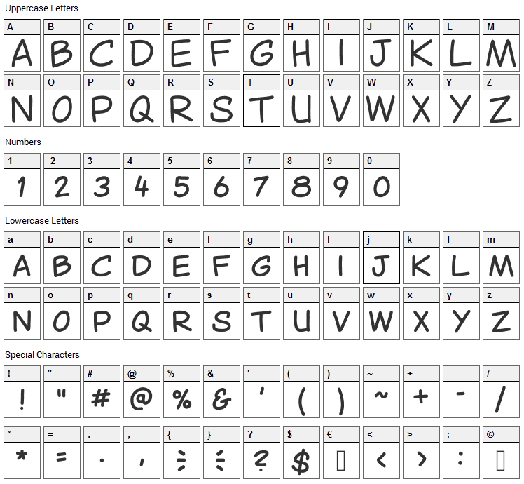 Canted Comic Font Character Map