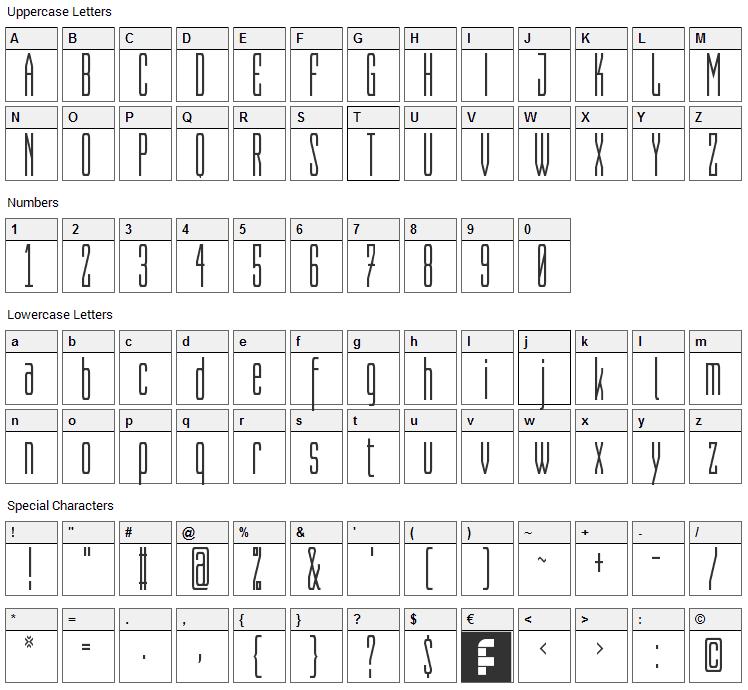 Capitalia Font Character Map