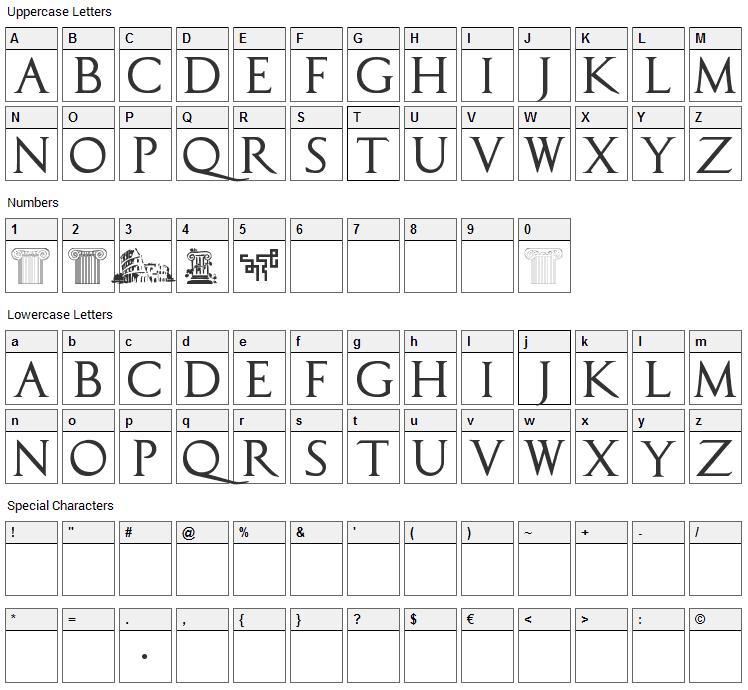 Capitalis TypOasis Font Character Map