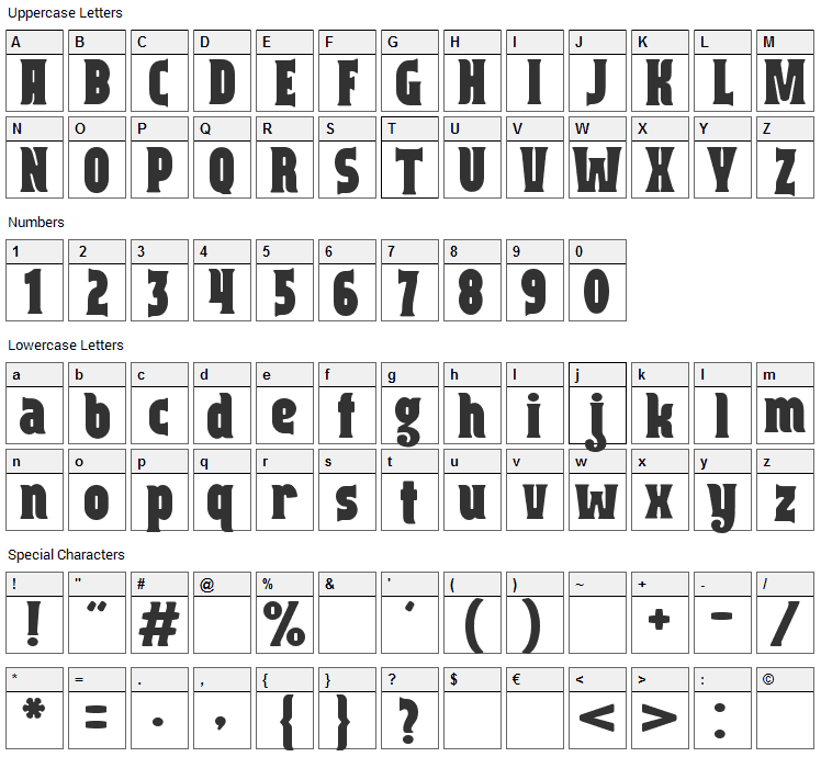 Capitalist Font Character Map