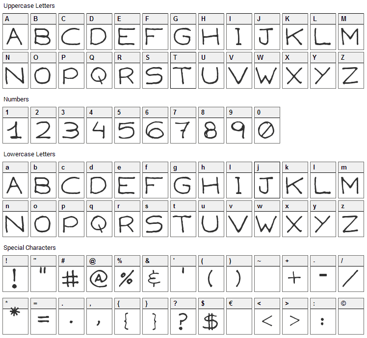 Capsies Font Character Map