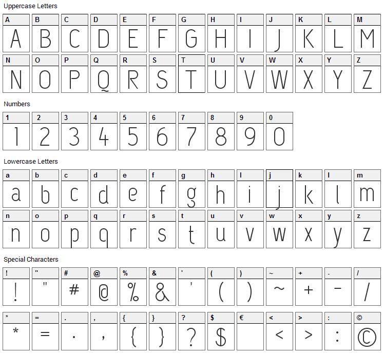 Capsuula Font Character Map