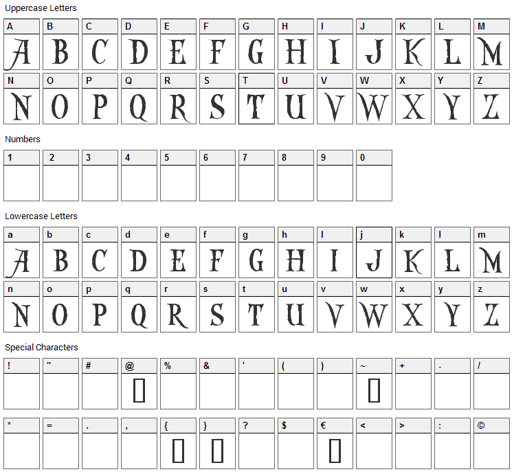 Captain Kidd Font Character Map