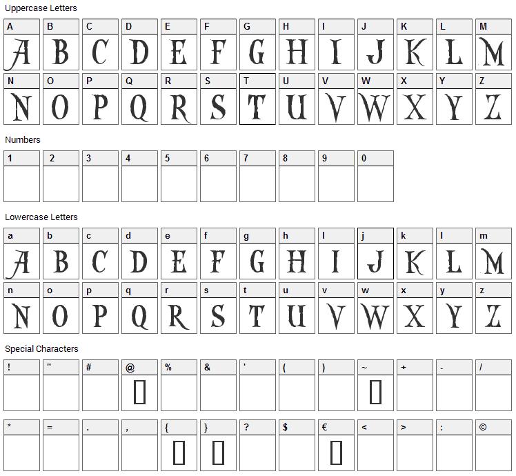Captain Kidd Font Character Map