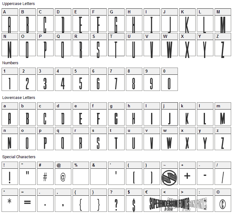 Captain Scarlet Font Character Map