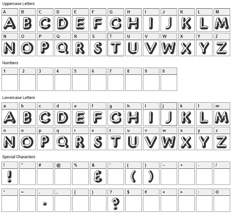 Captain Shiner Font Character Map