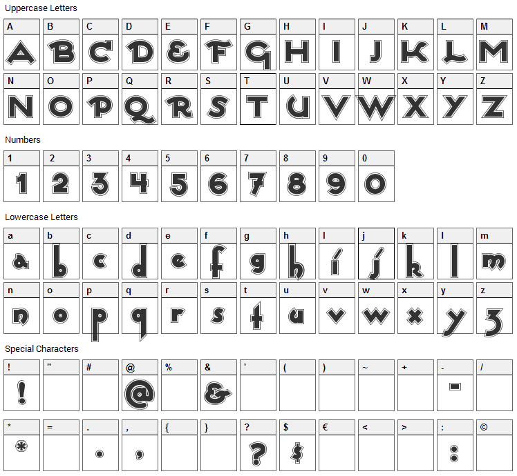 Captain Swabby Font Character Map