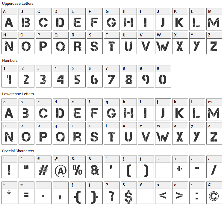 Capture it Font Character Map