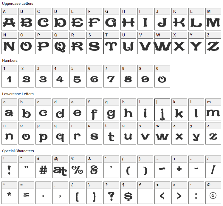 Caractere Doublet Font Character Map